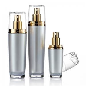New design empty golden lotion pump sealing type plastic material acrylic bottles cosmetic packaging container