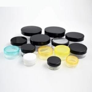 stock Cosmetic Containers Makeup Jars Plastic eyeliner Lip Balm 3 Gram Clear Lid